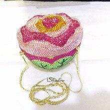 3D-ROSE Kristall farbe-Eine Blume blumen Hochzeit Braut Party Night hohlen Metall Abend clutch tasche handtasche box