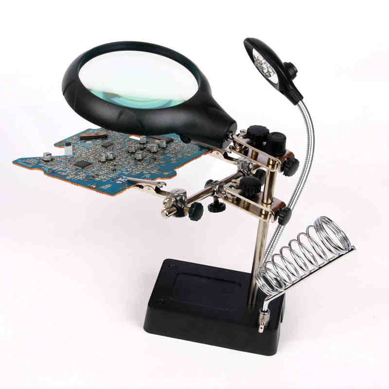MG16129-C Welding magnifying glass 5 LED Auxiliary Clip Magnifier 3 In 1 Hand Soldering Iron Stand Holder Station 220v 10x desk clip on led illuminated green optical big magnifying glass led lamp folding stand large magnifier with led lights