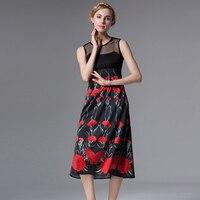 Sleeveless Ladies Dress 2016 Summer Grid Hollow Victoria Beckham Black Red Patchwork Print Classic Luxury Beach