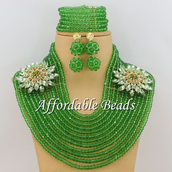 Grass Green Nigerian Wedding African Beads Marvelous African Costume Jewelry New Arrival Free Shipping ABW126 free shipping wedding spring green frame decorated personalized guestbook gb028