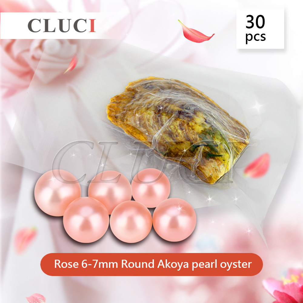 CLUCI Rose Color Pearl Oysters akoya colorful pearls Wholesale Colorful Round Beads For Jewelry Making 30pcs 6-7mm cluci free shipping get 40 pearls from 20pcs 6 7mm aaa blue round akoya oysters twins pearls in one oysters