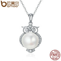 BAMOER 925 Sterling Silver Cute Owl Dazzling CZ Fresh Water Pearl Pendant Necklaces For Women Sterling