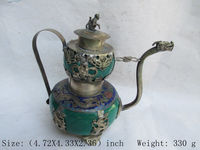 Chinese Ancient Tibet Silver Dragon Monkey Butterfly Ceramic Teapot