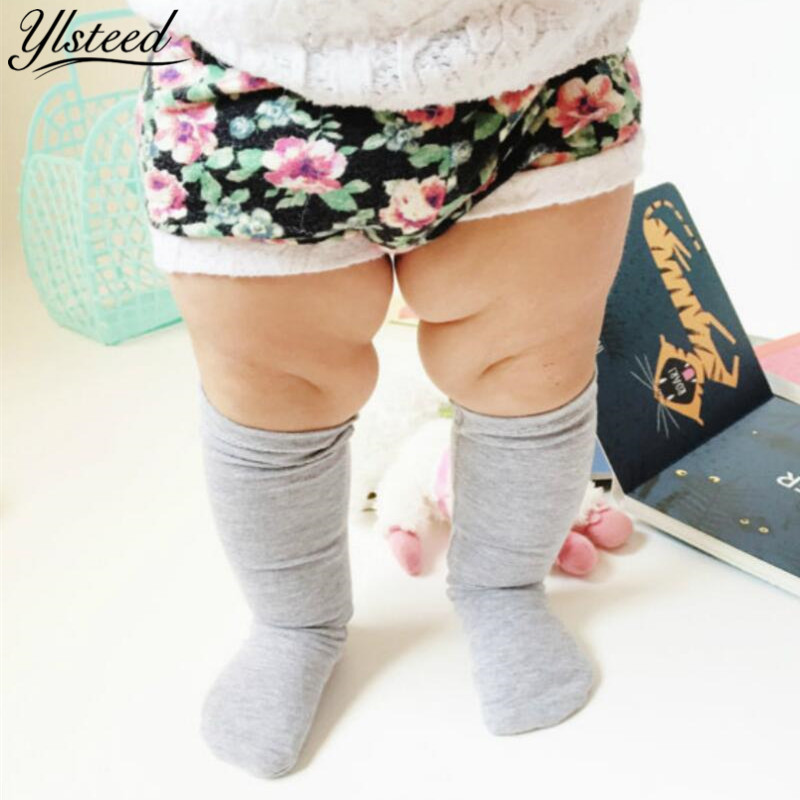 Newborn Socks Full Season Pure Cotton Baby Knee Socks Solid Color Baby Boys Girls Knee High Leg Warmers Infant Floor Socks