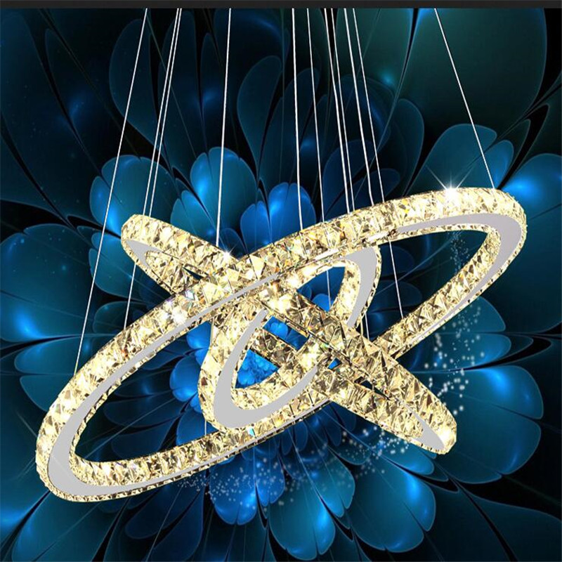 Luxury 3 Rings Crystal Chandeliers Stainless Steel Led Mordern Pendant Lamp Home Deco Hanging Lamp Suspension Luminaire Avize