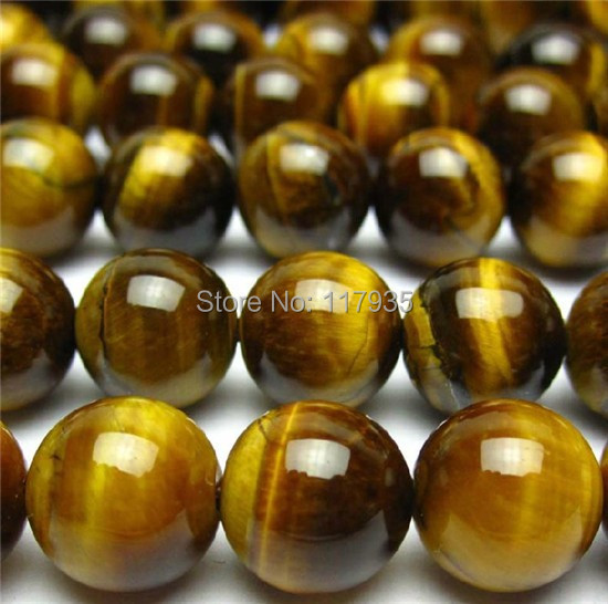 "Wholesale 15"" A+ 4-14mm Natural Yellow Tigereye Hot sell Beads  fashion jewelry making on sale all with tiger eye"
