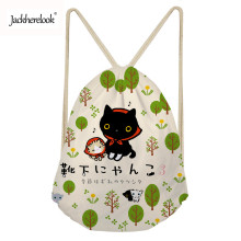 Jackherelook Kawaii School Girls Drawstring Bags Backpack Women Gym Sack Animal Cat with Music Note Print Ladies Storage Bags