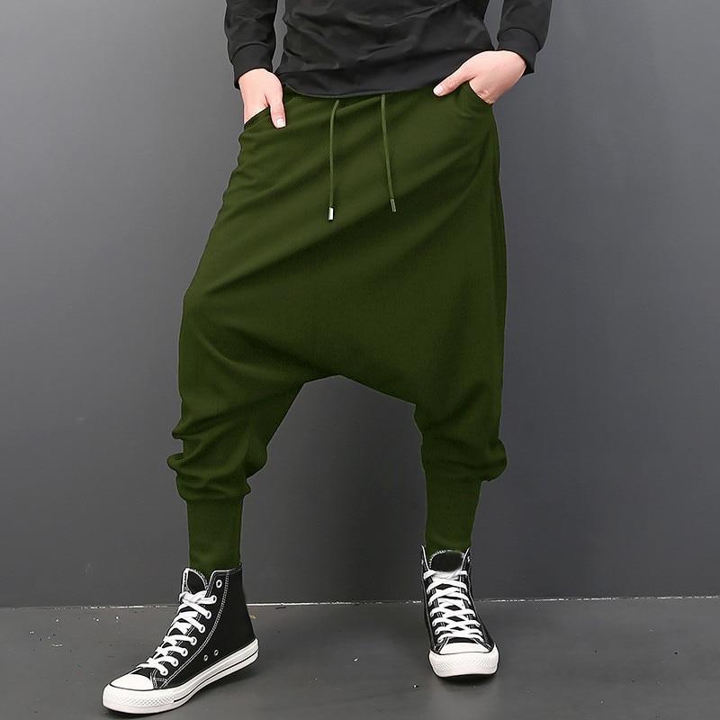 INCERUN Мужские штаны с эластичной резинкой на талии, на завязках, с заниженным шаговым швом, шаровары в стиле хип-хоп, спортивные штаны для бега, мужские брюки, модная одежда - Цвет: Army Men Pants