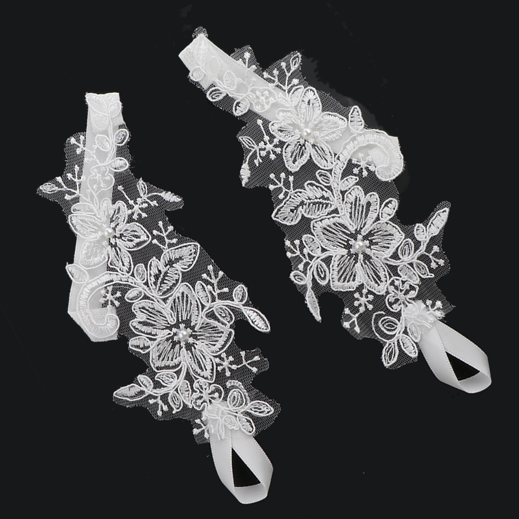 2pcs Lace Flower Bridal Anklets Barefoot Sandals Beach Foot Chain White