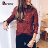 BEFORW 2019 Women Sexy Lace Hollow Out Perspective Blouse Shirt Elegant Flare Sleeve Black White Blouses Casual Floral Tops 1