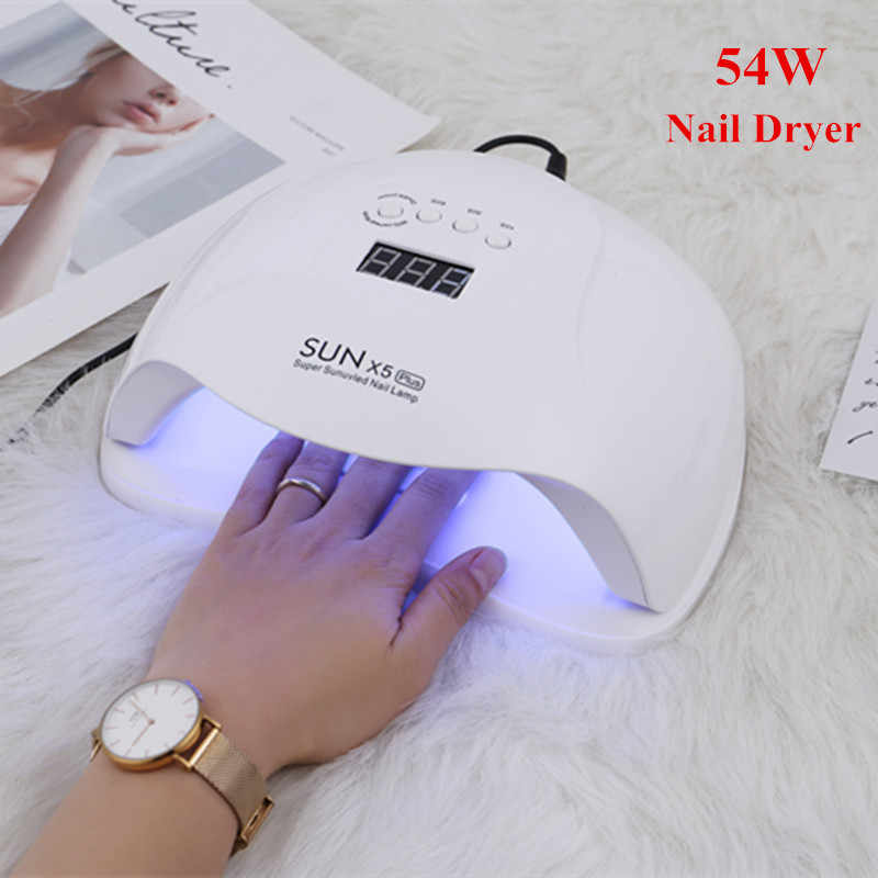 54W Nail Dryer 36Pcs LED UV Lamp Beads 10/30/60/99s Timer Low Heat Mode Nail Manicure Tool Smart Nail Art Dryer Machine