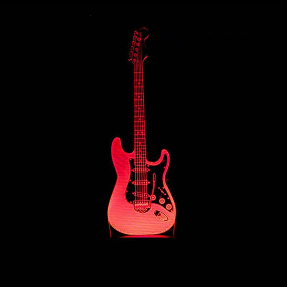 Electric guitar 3d night light 7 colors gradual change led touch vision lamp music Instrument table lamp usb rechargeable in LED Night Lights from Lights Lighting