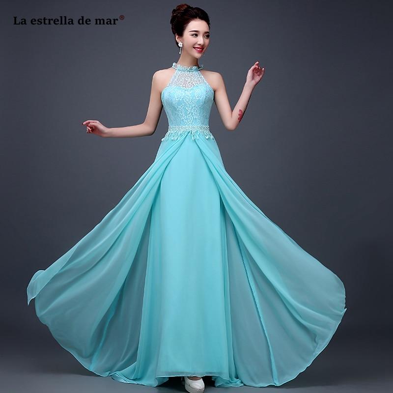 Robe d'invité de mariage nouveau col haut dentelle cristal mousseline de soie retour une ligne bohème turquoise robe de demoiselle d'honneur longue