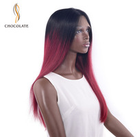 CHOCOLATE Brazilian Remy Human Hair Long Straight Wigs For Women Pre Plucked Red Straight Lace Front Wig 180% Density 18 Inch