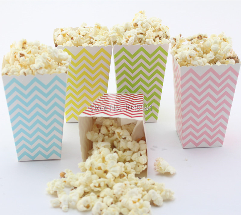 Wedding Gift Bag Snacks : ... Bags Party Favor Snack Chocolate Candy Box Chevron Wedding Popcorn Box
