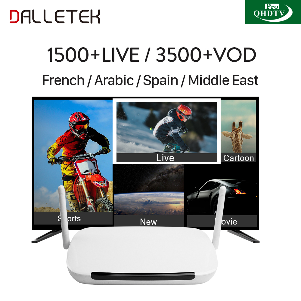 Arabic IPTV Dalletektv Android TV Set Top Box QHDTV PRO Code 1 Year Subscription H.265 IPTV Europe Arabic French IPTV Top Box dalletektv mag250 linux iptv set top box europe iptv subscription arabic french uk italy usa germany sweden streaming box