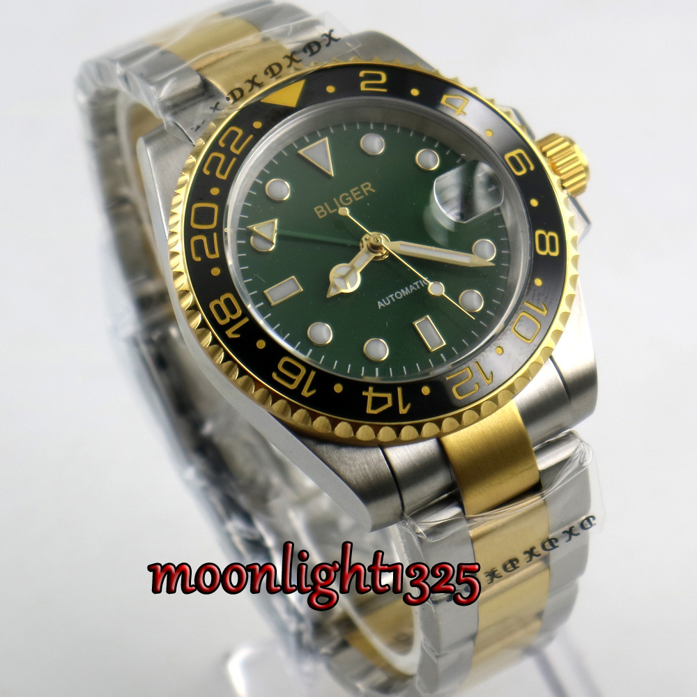 BLIGER 40MM GreenDial Ceramic Bezel GMT Function Sapphire Gold Plated Luminous Automatic Movement Mens WatchBLIGER 40MM GreenDial Ceramic Bezel GMT Function Sapphire Gold Plated Luminous Automatic Movement Mens Watch