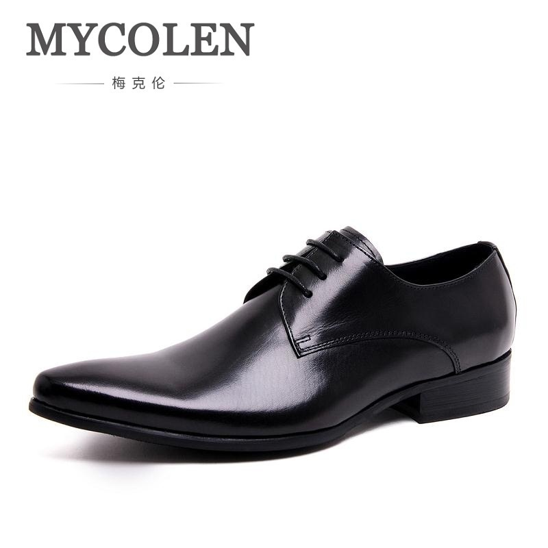 MYCOLEN Italian Style Mens Formal Shoes Brand Genuine Leather Comfortable Wedding Shoes Male High Quality Black Men Flats mycolen brand genuine leather men shoes handmade autumn winter brand high quality men flats shoes comfortable wear shoes