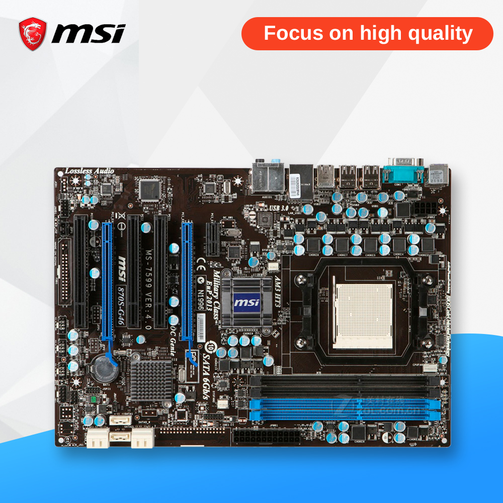 MSI 870S-G46 Original Used Desktop Motherboard 870 Socket AM3 DDR3 32G SATA3 USB2.0 ATX msi 970a g46 original used desktop motherboard 970 socket am3 ddr3 32g stat3 usb3 0 atx on sale