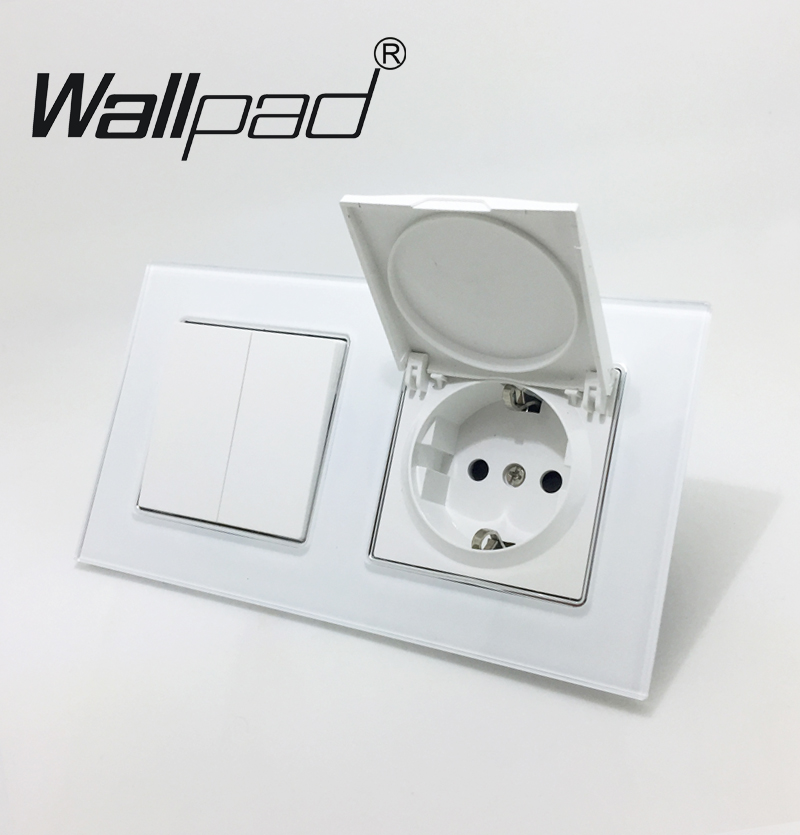 2 Way Switch witch Cap Socket Wallpad Crystal Glass Panel 110V-250V 2 Gang Switch Dust Cap EU Schuko Wall Socket with Claws Clip цена