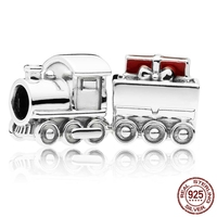 Genuine 925 Sterling Silver fit Original Pandora Bracelet Santa Train Charm Beads Jewelry Gift for Women