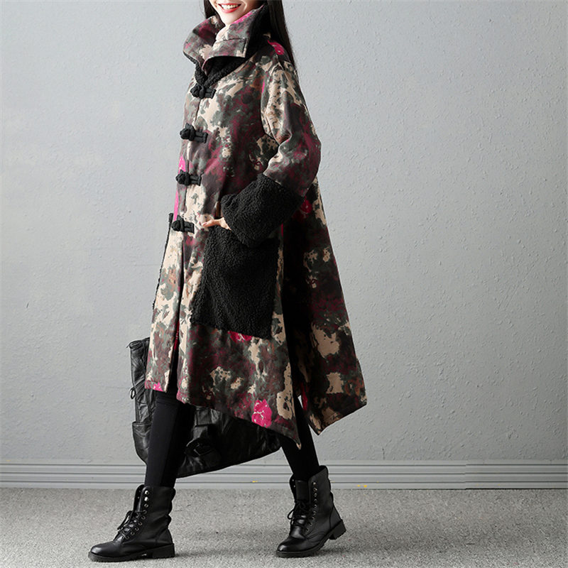 2018 Retro Women Floral Print Pocket Button Long Sleeve   Parkas   Coat Winter Cotton Fleece Thick Warm Loose Long Jacket Tops A1623