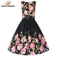 3XL 4XL Plus Size Vintage Women Dress Lady Summer Patchwork Rockabilly 1950s Midi Swing Casual Dresses