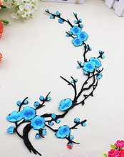 Diy Chinese traditional flowr patch 34x15cmChimonanthus clothe embroidery motif fabric applique clothing accessories sewing/iron