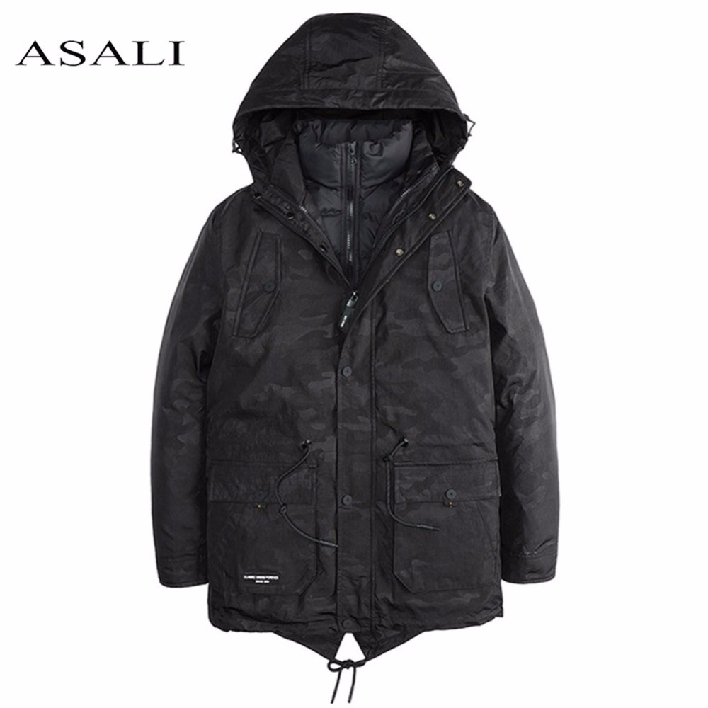 ASALI Mens Winter Parkas 2017 New Brand Clothing Thick Jacket Keep Warm Two Pieces Casual Winter Coat Men masculine jacket