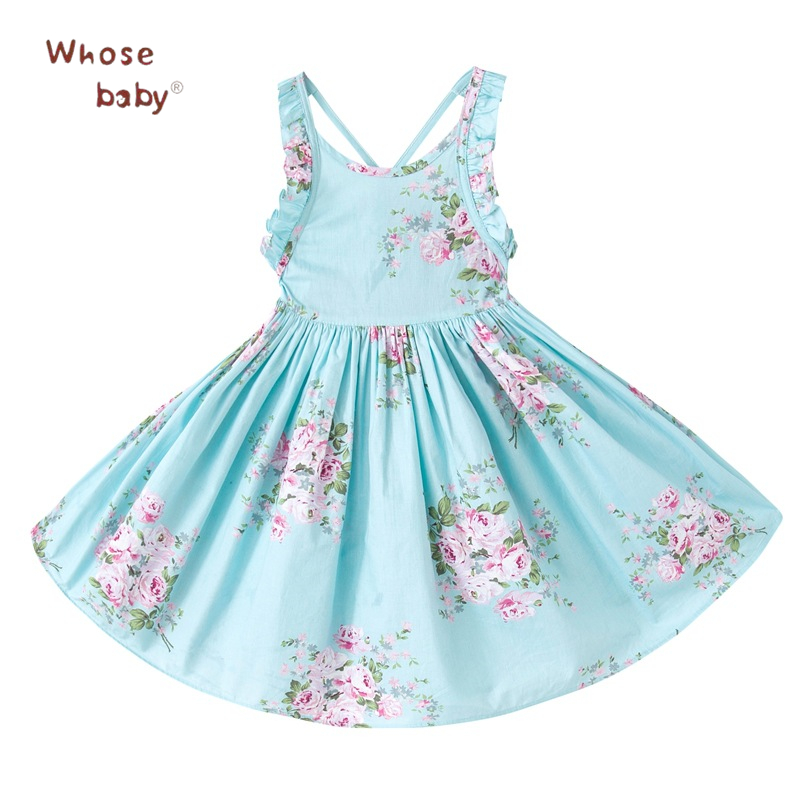Summer Kids Dresses For Girls Beach Floral Girls Dress Teenager Cotton Robe Fille Princess Infant Party Children Clothes