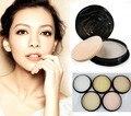 5 Color Translúcido Polvo Presionado con Soplo Suave Rostro Base de Maquillaje A Prueba de agua La Piel Acabado Ajuste de Contorno de La Cara En Polvo