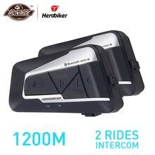 HEROBIKER 2 Set di 1200 M BT Del Casco Del Motociclo Citofono Impermeabile Senza Fili di Bluetooth Moto Auricolare Interphone Radio FM per 2 Rides