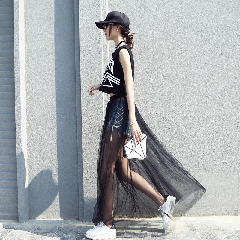 2018 New Puff Women Mesh Tulle long Skirt Fashion Elegant Female Skirts from Wome for Spring Summer Autumn and winter