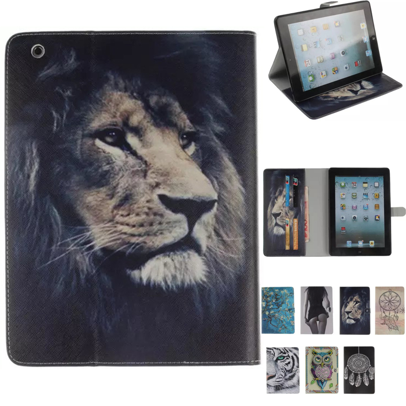 Case For IPad 2 IPad 3 IPad 4 Fashion Tiger Owl Girl Pattern PU Leather Smart Auto Sleep Wake Tablet Case For IPad 2/3/4