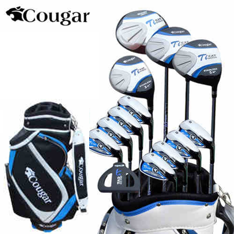 brand Cougar. 13 pics Luxury MENS golf clubs. Titanium Alloy for Rod Driver. golf irons set golf graphite shafts golf set crestgolf complete golf club sets junior golf club set with stand bag for kids graphite shaft junior golf clubs