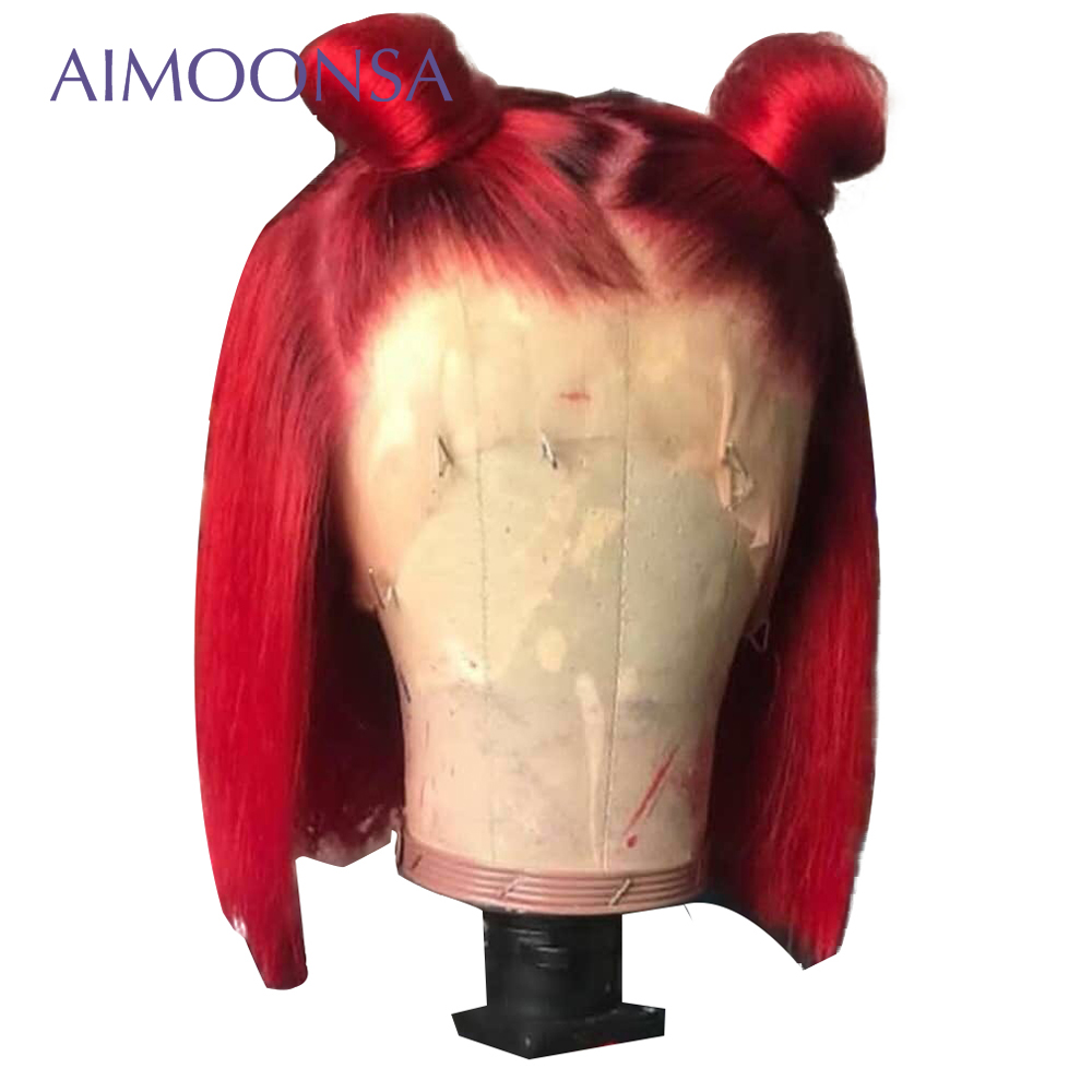 Red Human Hair Wigs Short Bob Wigs 13x6 Deep Part Wig Bright Colored Lace Front Wigs
