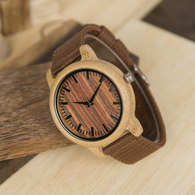 BOBO BIRD Red Nylon Straps Fashion Bamboo Wood Watches LD10 Japan 2035 Quartz Watch For Women Men Accept OEM