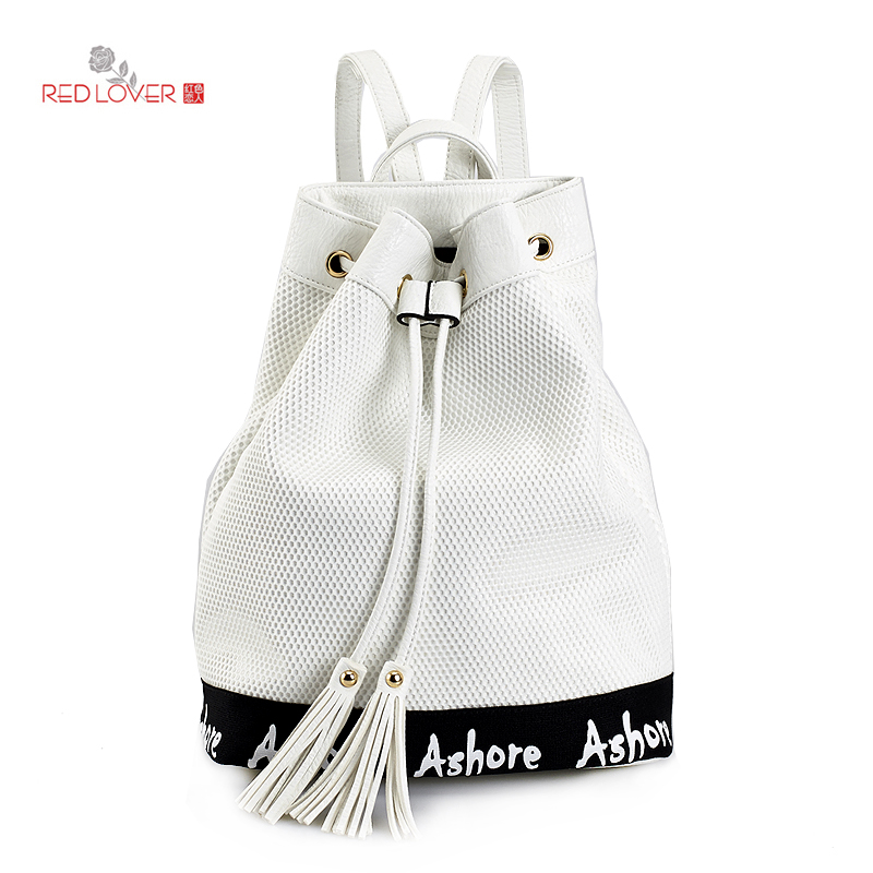 ФОТО Red Lover Women's backpack white Net Material Rucksacks PU Bucket Lady Casual school bag Drawstring free shipping backpacks