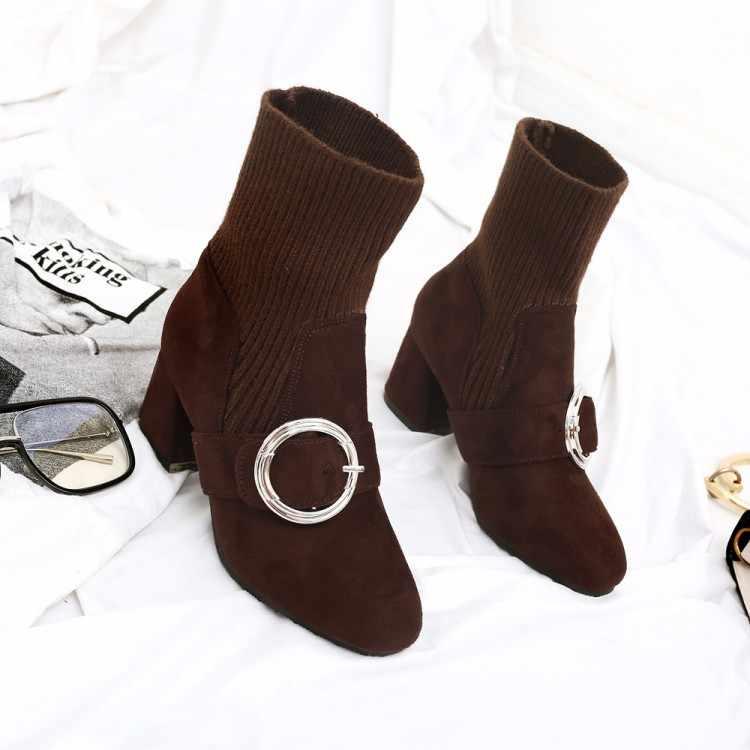 Большие размеры 9, 10, 11-15; ботинки; женская обувь; ботильоны для женщин; женские ботинки; вязаная обувь с ремешком и пряжкой