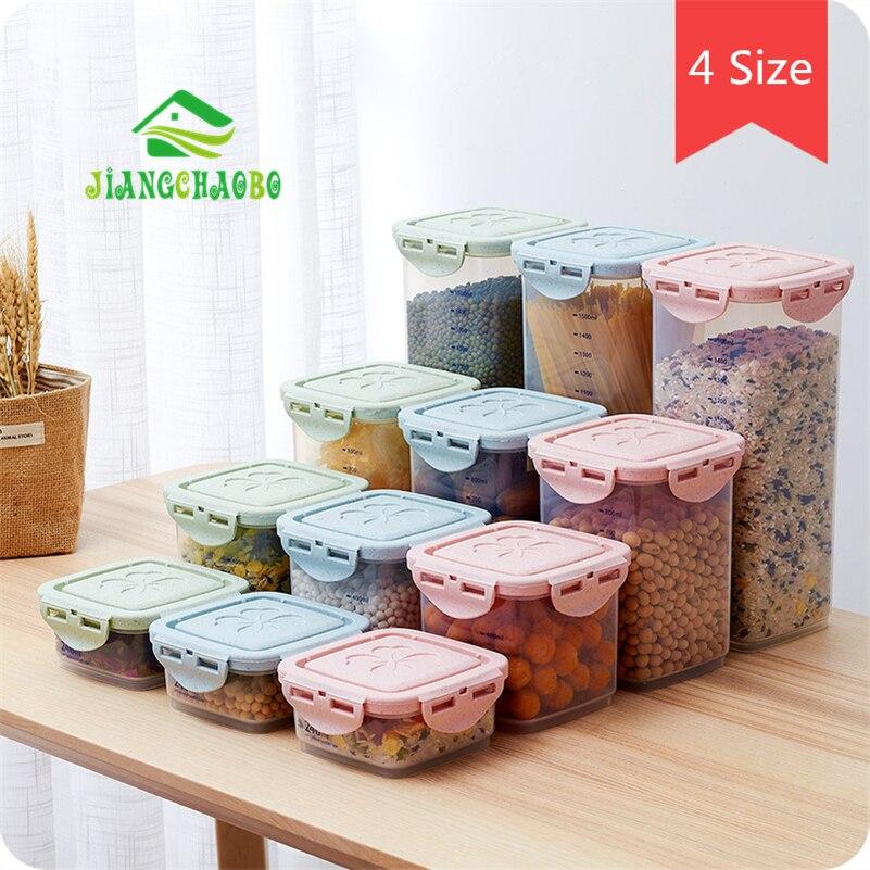صندوق تخزين الحبوب مختومة علب المطبخ المنزلية البلاستيك مغطاة جرة شفافة الشعرية متنوعة الحبوب تخزين علب