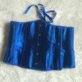 Lencería Sexy Corsé de Satén Azul de Underbust Lace up Corset Bustiers Faja Envío Gratis