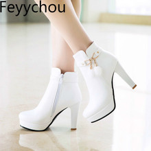 Women Boots Autumn Winter Warm Super High Heel Round Toe 2018 New Sexy Fashion Pu Zip Ankle Motorcycle Boots Black White fashion motorcycle boots women extreme high heel round toe dance boots sexy leather irregular ankle boots