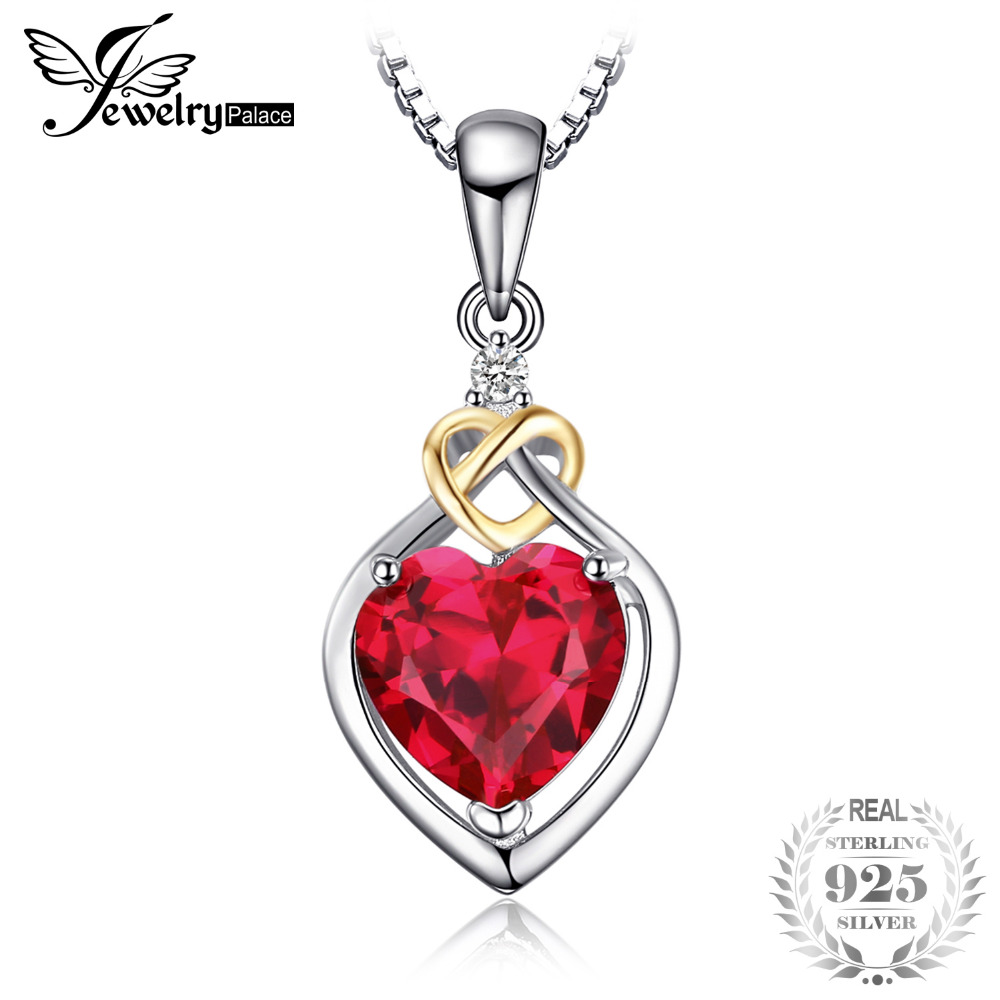 JewelryPalace Love Knot Heart 2.5ct Created Ruby Pendant 18K Yellow Gold 925 Sterling Silver Brand Fine Jewelry Without a Chain