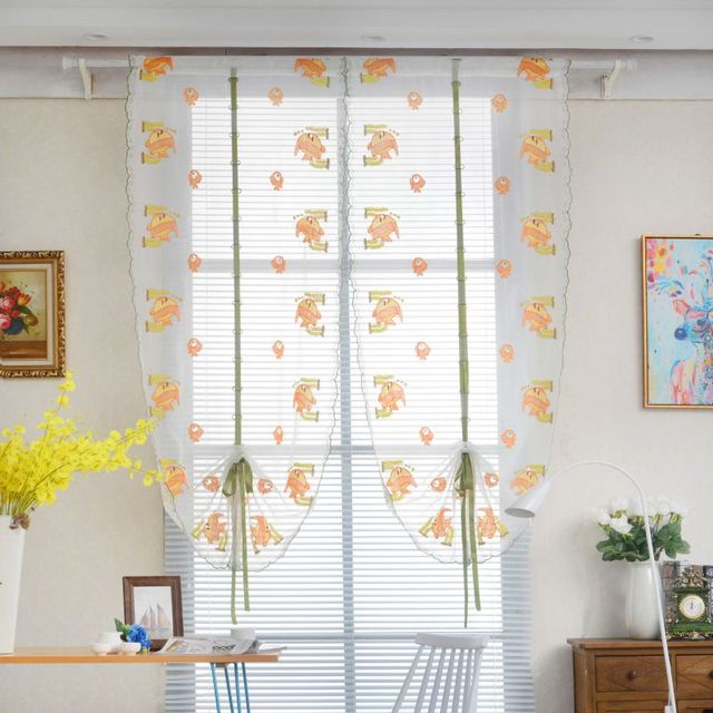 Window Tulle Curtain Sheer Voile Roman Curtains Bedroom Living Room Balcony  Plum Cute Fish Embroidered Tube