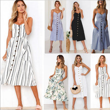 Fashion Women BOHO Floral Print Beach Dress Lady Sexy Sleeveless Striped Maxi Dresses OL Clothes Floral