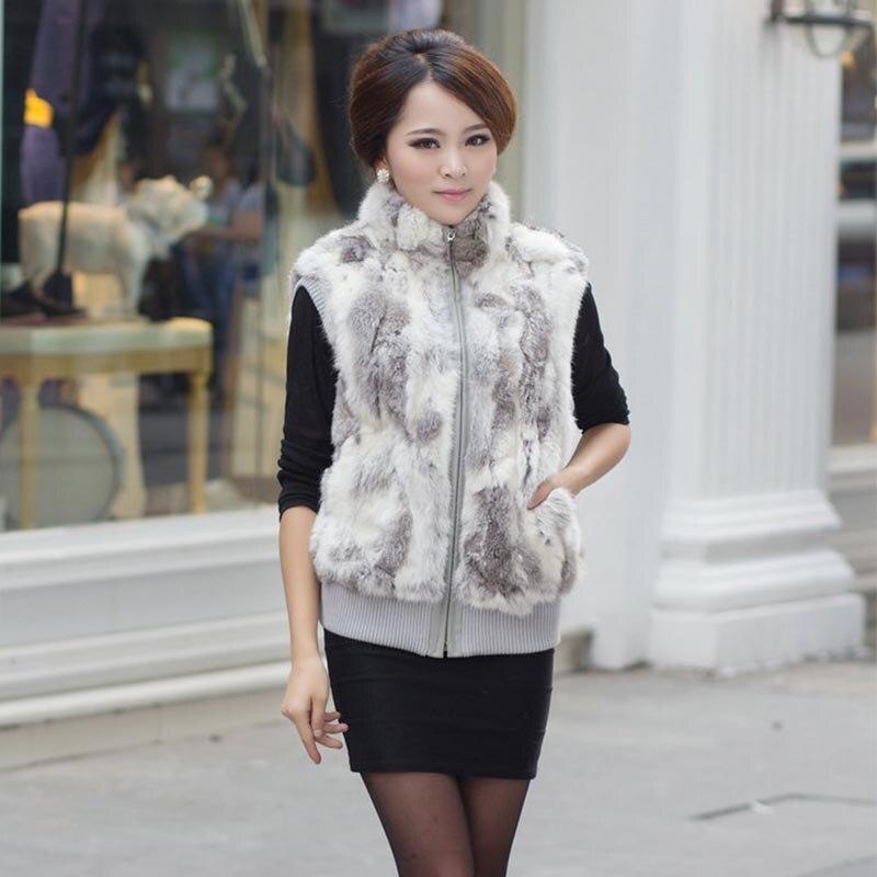 Nové ženy Real Králík Vest kožešiny Velké rozměry Tlusté a teplé bez rukávů Bunda Fashion Outwear Vysoce kvalitní ženy Real Fur Vest