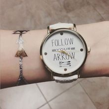 Inventive Trend Comply with Your Arrow Watches Womens Humorous Fake Leather-based Band Quartz Watches Trend Wrist Watch