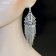 Chran Bridal Accessories Crystal Silver Earrings For Women