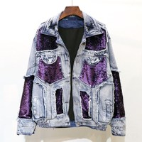 Purple Sequins Spliced Jean Jacket Women 2019 Streetwear Style Cool Denim Jacket Casual Harajuku Loose Jackets