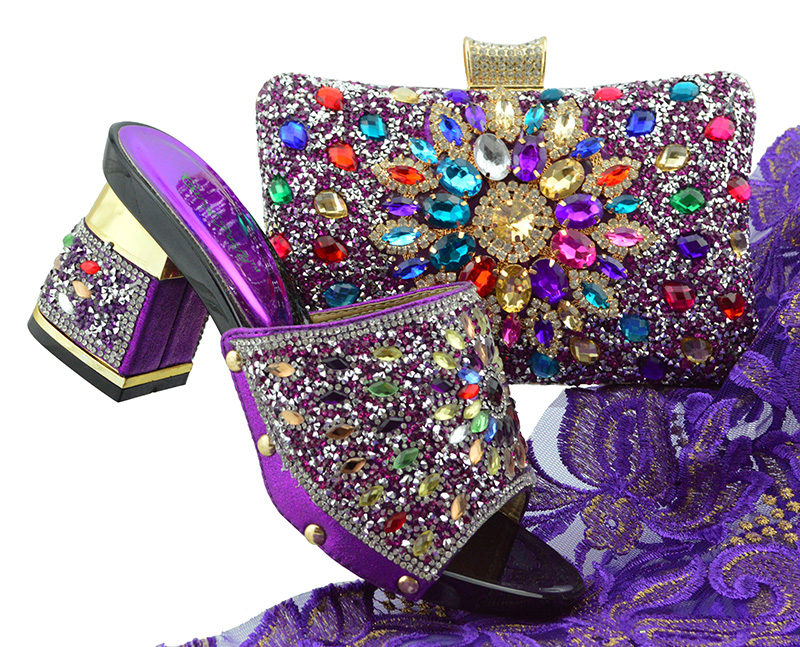 Purple Color New Arrival Ladies Italian Shoes and Bag Set Decorated with Rhinestone Italian Shoes with Matching Bag FTG004 все цены